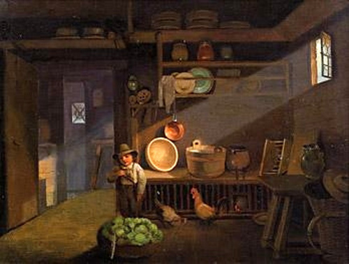 لوحات تشكيليه للفنان العالمي Ignaz Raffalt Barn-interior