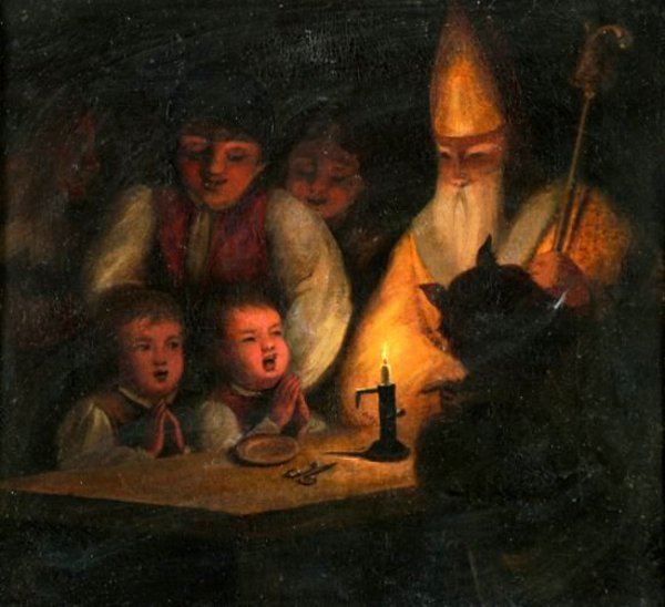 لوحات تشكيليه للفنان العالمي Ignaz Raffalt Ignaz-raffalt-children-at-prayer-with-st-nicholas