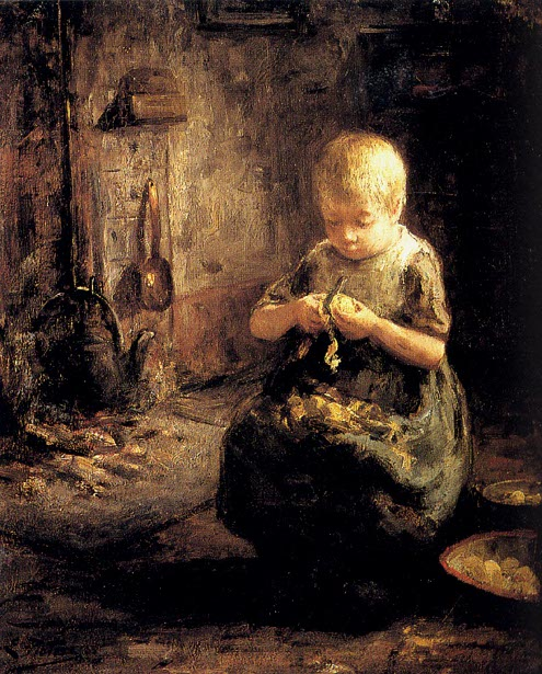 A Child Peeling Potatoes