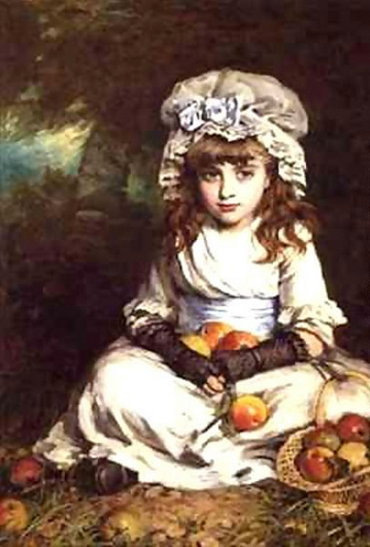 A Little Girl In A Mob Cap With A Basket Of Apples