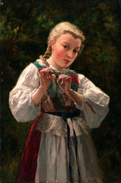A Young Girl Braiding Her Hair