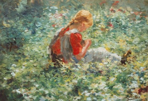 A Young Girl In A Flower Garden