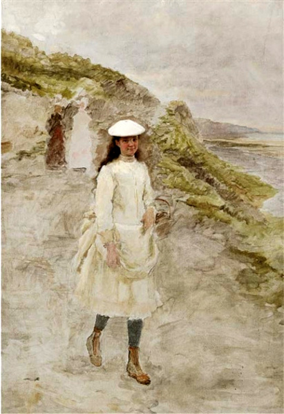 A Young Girl On A Coastal Path