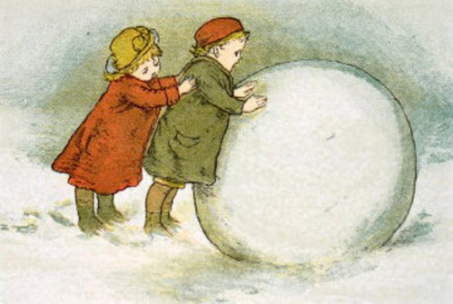 Children Rolling Snowballs