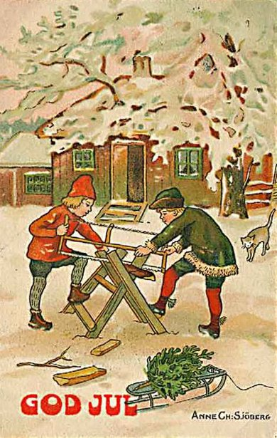 Children Sawing Wood