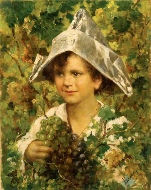Giovanetto tra i tralci d'uva