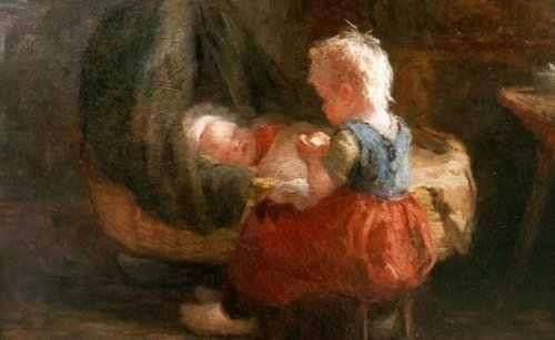 Girl With Baby In Rocking Cradle