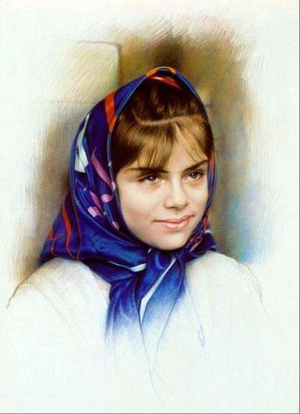 Girl With Blue Scarf