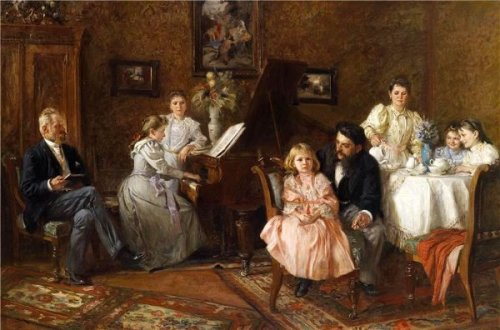 Large Family Portrait In The Salon
