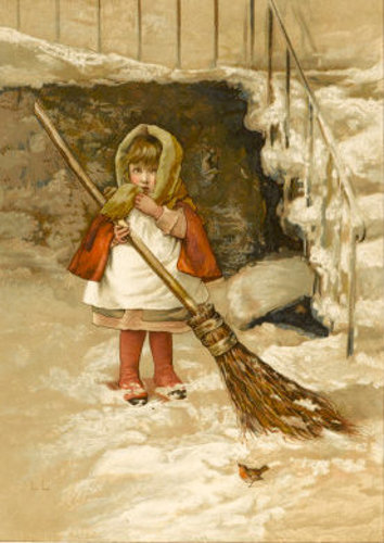 Little Girl Sweeps The Snow By The Steps Watched By A Robin