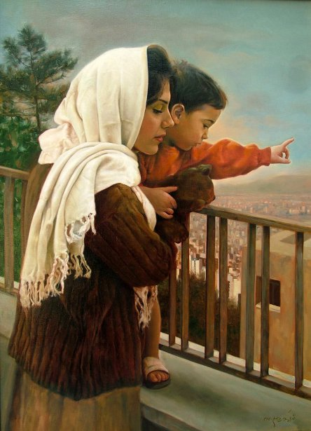 Mother And Child In The Balcony