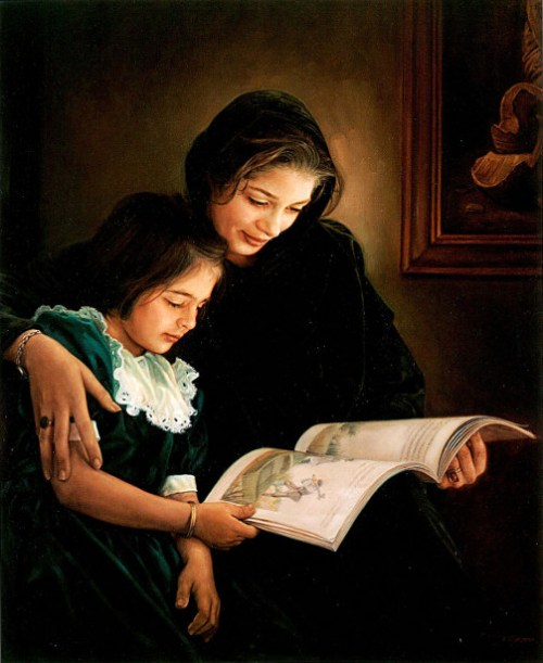 Mother And Daughter And A Book