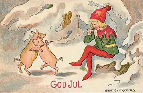 Small Santa Playing For Dancing Pigs
