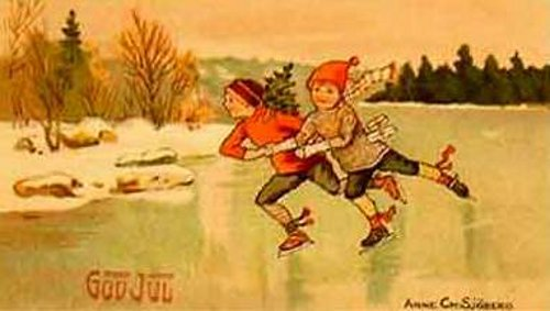 Two Kids Riding Skates