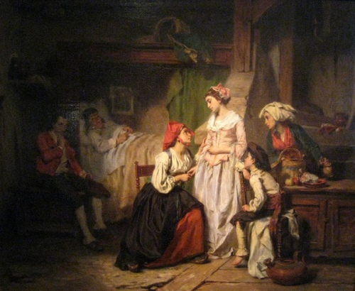 A Lady Visiting A Family