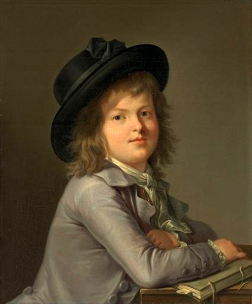 A Young Boy Seated At A Desk Holding A Book - Boy In A Black Hat