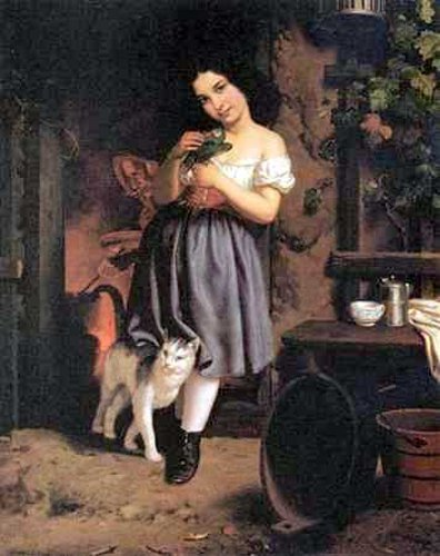 A Young Girl With Cat