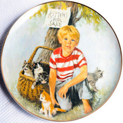 Boy With A Basket Of Kittens