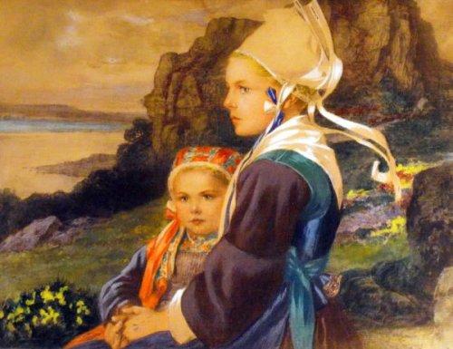 Bretonne et sa fille en bord de cote