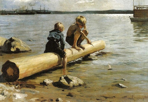 Children With Small Sailboat