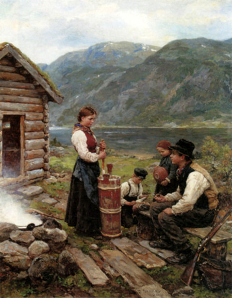 Family In A Norwegian Fjord Landscape