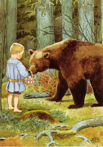 Giving Berries To A Bear
