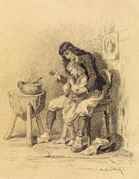 Interior, Man Teaching Boy To Pray