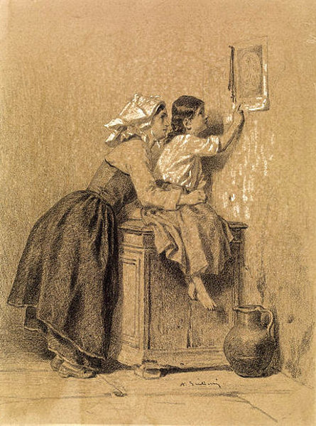 Interior, Woman And Child