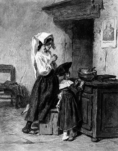 Italian Peasant Girls At Prayer