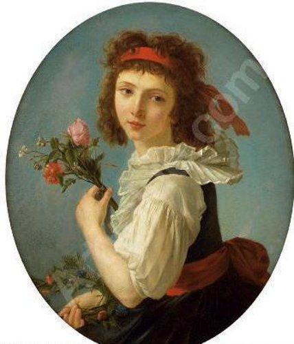 Jeune fille tenante des fleurs