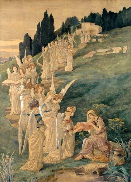 La procesión de los Ángeles devant l'enfant Jesús