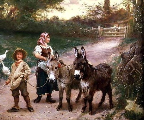 Peasant Children With Donkeys - On The Way To Market