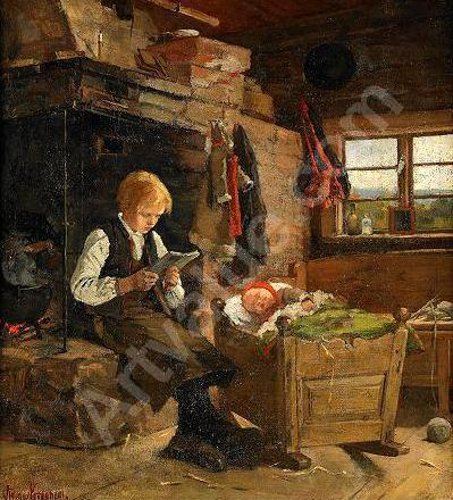 Rustic Interior With Boy Reading By The Fireplace