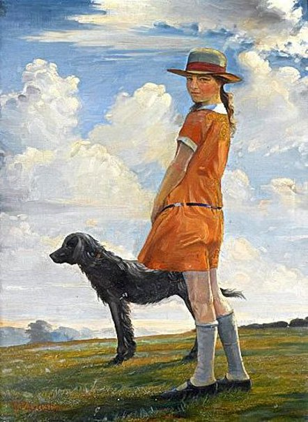 The Artist's Daughter Walking With The Vicar's Dog