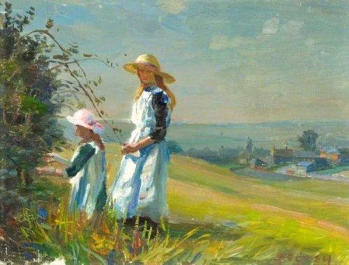 Two Girls Picking Blackberries