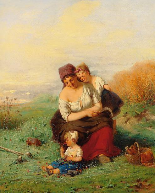 Young Peasant Woman With Two Children At Rest During Harvest
