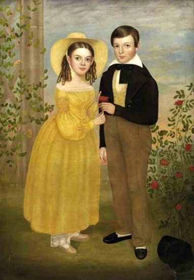 A Girl And Boy Standing In A Rose Garden