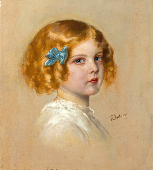 A Little Blond Girl With Blue Ribbon