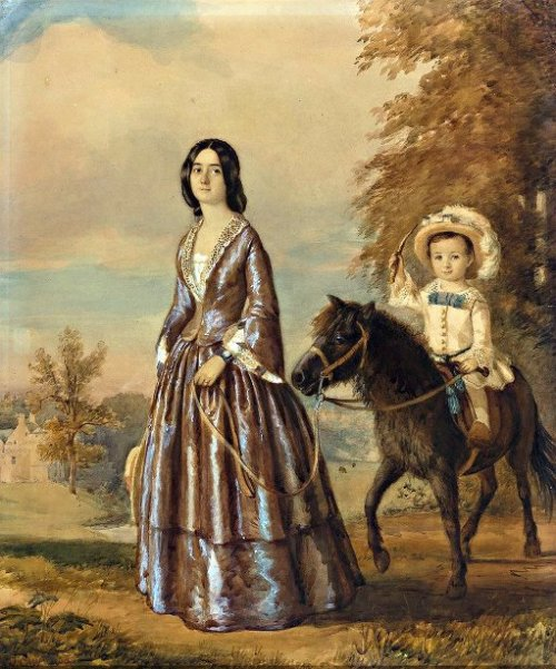 An Elegant Lady And Her Son Riding A Pony