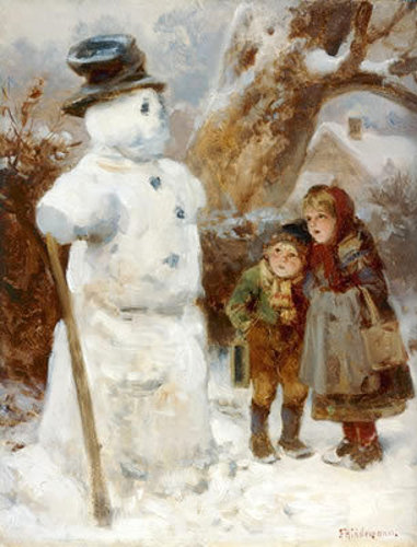 Boy And Girl In Front Of A Snowman