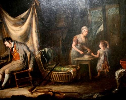 Family In A Cottage Interior