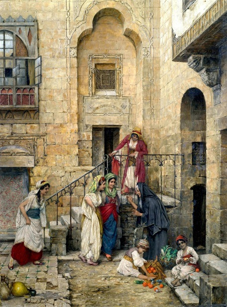 Harem Women In The Courtyard Of A Palace