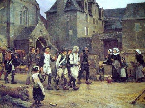Les révoltés de Fouesnant ramenés par la garde nationale de Quimper en 1792