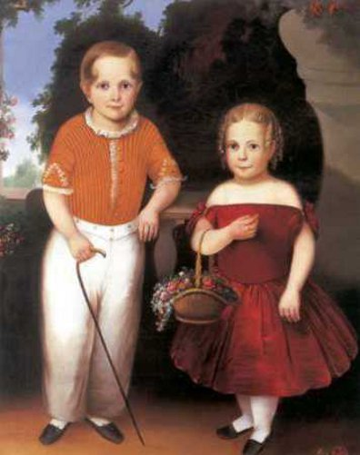 Little Boy With Walking Stick And A Little Girl With A Basket Of Flowers