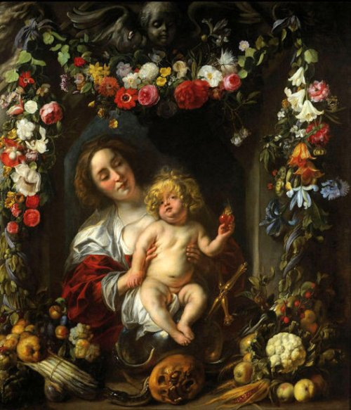 Madonna With Child In A Flower Garden