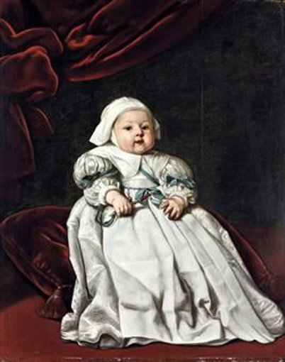Portrait Of A Child Holding A Jewelled Rattle