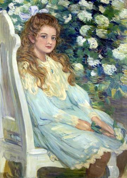Portrait Of A Girl Seated Wearing A Blue Dress.bmp