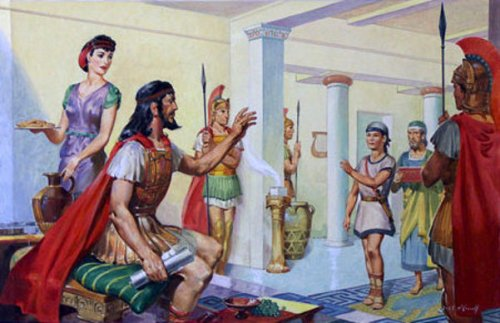 Telemachus Welcomed By Nestor