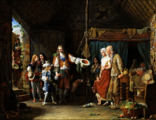 The Grand Dauphin visits a hut, led by the Duc de Montausier
