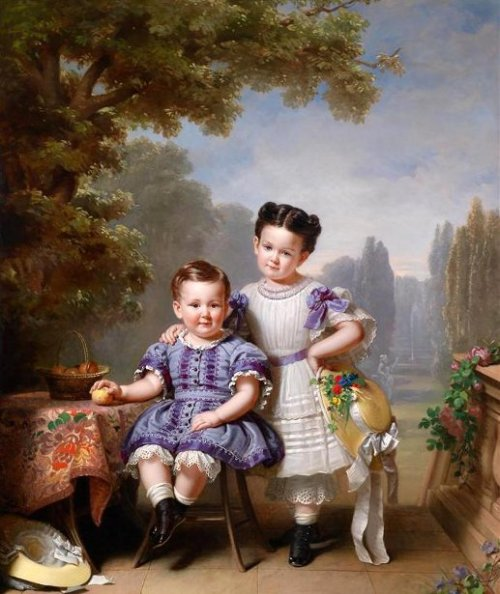 Two Children In A Park Landscape